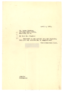 Letter from W. E. B. Du Bois to A. P. Donawa