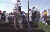 Gandy dancers performing railroad work songs at the 1991 Alabama Folklife Festival in Montgomery, Alabama.
