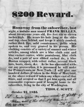 "Runaway notice, ""$200 Reward: Ranaway from the subscriber..."" signed Thos. C. Scott"