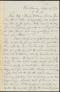 Letter from William Lloyd Garrison, Providence, [R.I.], to Helen Eliza Garrison, Sept. 19, [18]70