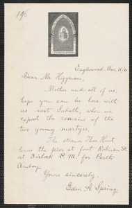 Edward Adolphus Spring autograph letter signed to Thomas Wentworth Higginson, Eagleswood, [Perth Amboy, N.J.], 11 March [18]60