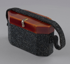 Black beaded box bag from Mae's Millinery Shop