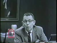 WSB-TV newsfilm clip of Dr. Judson C. Ward of Emory University speaking about a Georgia Supreme Court ruling allowing private universities to integrate without becoming subject to state taxes in Atlanta, Georgia, 1962 September 15