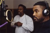 Grandmaster Caz and Money Ray of the Cold Crush Brothers recording a commercial for Funkmaster Flex, D&D Studios