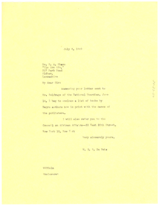 Letter from W. E. B. Du Bois to E. A. Shanu
