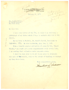 Letter from Herschell Roger Williams to W. E. B. Du Bois