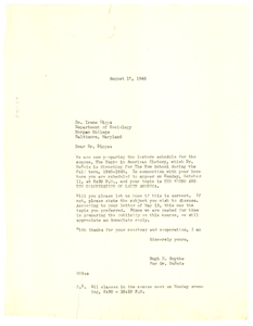 Letter from Hugh H. Smythe to Irene Diggs