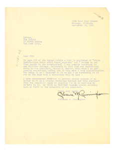 Letter from Clarence M. Cunningham to Editor of the Crisis
