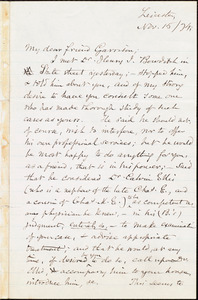 Letter from Samuel May, Jr., Leicester, [Mass.], to William Lloyd Garrison, Nov[ember] 15 / [18]74