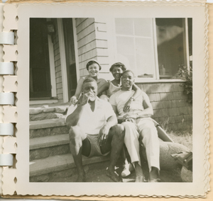 Digital image of family members at the Taylor family home on Martha's Vineyard