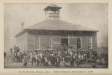 Children and adults in front of the Payne School in Selma, Alabama, on the day the school opened.