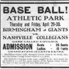 Ad for a baseball game