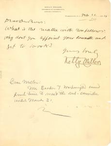 Letter from Kelly Miller to W. E. B. Du Bois