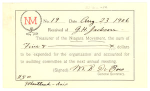 Niagara Movement Receipt No. 19
