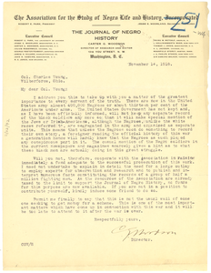 Letter from C. G. Woodson to Charles Young