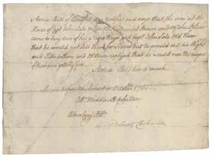 Testimony of Anna Bill (manuscript copy) about the sale of two slaves, October 1761