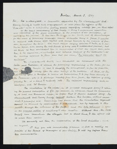 Letter from the Committee of Massachusetts Anti-slavery Society (Isaac Winslow, Ellis Gray Loring, Samuel Philbrick, Joseph H. Eayrs, John E. Fuller), Boston, to Hannah C. Fifield, March 8, 1837