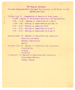 The Niagara Movement proposed programme, first national meeting July 11, 12, 13, and 14