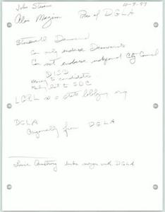 Handwritten notes about Dallas gay organizations