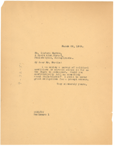Letter from W. E. B. Du Bois to Isadore Martin