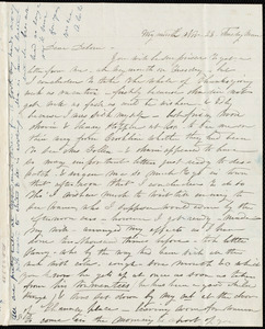 Letter from Caroline Weston, Weymouth, [Mass.], to Deborah Weston, Nov. 23, [1841?], Tuesday morn