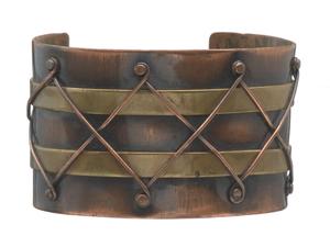 Copper and brass diamond design cuff by Winifred Mason Chenet