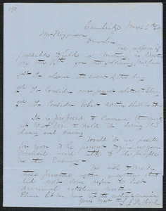 J. H. Fowler autograph letter signed to Thomas Wentworth Higginson, Cambridge, 6 March [18]60