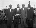 Four men at an event, Los Angeles, 1964