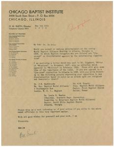 Letter from Chicago Baptist Institute to W. E. B. Du Bois