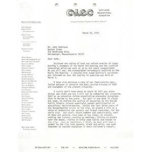 Letter, Boston Globe, March 25, 1977.