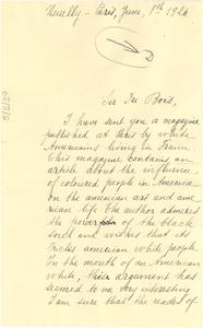 Letter from Fernande Bruneau to W. E. B. Du Bois