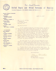 Letter from United Negro and Allied Veterans of America to W. E. B. Du Bois
