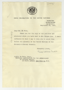 Letter from India United Nations Delegation to W. E. B. Du Bois