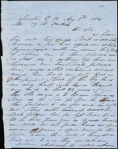 A. J. McElveen, Sumter Court House, S.C., autograph letter signed to Ziba B. Oakes, 2 August 1856