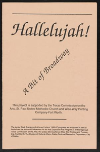 Program: Hallelujah! A Bit of Broadway Children's Summer Institute - Hallelujah - A Bit of Broadway