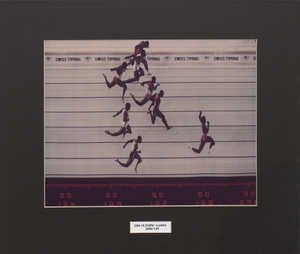 Framed color photograph of the 1984 Summer Olympics Men's 100M finish line