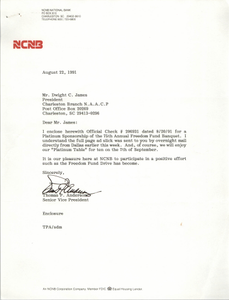 Letter from Thomas P. Anderson to Dwight C. James, August 22, 1991