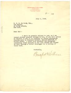 Letter from Bradford G. Williams to W. E. B. Du Bois