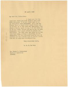 Letter from W. E. B. Du Bois to Harry V. Richardson