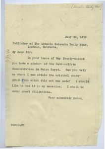 Letter from W. E. B. Du Bois to Lincoln Daily Star