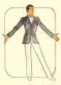 Costume design drawing, performer in a gray jacket, Las Vegas, June 5, 1980