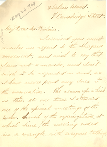 Letter from Thomas D. Brown to W. E. B. Du Bois