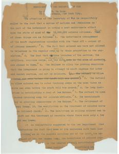 Letter from W.E.B. Du Bois to Secretary of War [fragment]