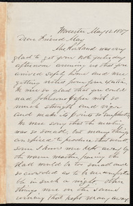 Letter from Joseph Avery Howland, Worcester, [Mass.], to Samuel May, May 12, 1887
