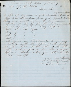 A. J. McElveen, Sumter Court House, S.C., autograph letter signed to Ziba B. Oakes, 9 April 1857