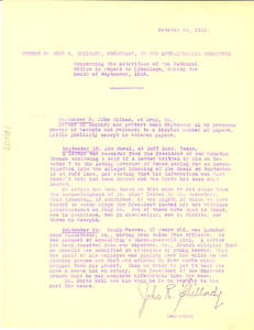 Report of John R. Shillady, Secretary, to the Anti-Lynching Committee