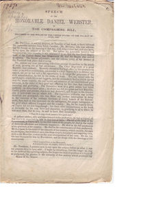 Speech of the Honorable Daniel Webster, on the Compromise Bill delivered in the Senate of the United States, on the 17th day of July, 1850