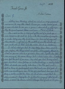 Letter from Frank 'Parky' Grace to Gloria Xifaras Clark