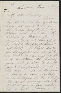 F. B. Sanborn autograph letter signed to [Thomas Wentworth Higginson], Concord, 4 June [18]59