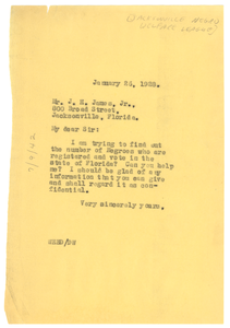 Letter from W. E. B. Du Bois to Joe H. James Jr.